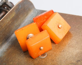 Vintage natural genuine  Baltic Amber cuff links with gold plated brass pins (IL)