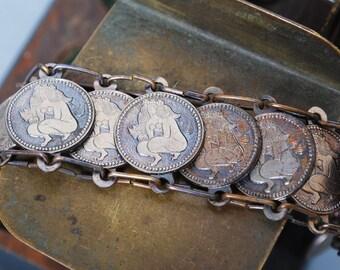Vintage metal coin bracelet, Astrological Zodiac decor. Virgo