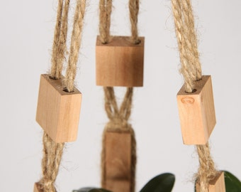 Macrame Wall Hanging ~ Hanging Baskets ~ Natural Jute Beaded Hanging Planter ~ Rustic Macrame Plant Hanger ~ Pot Holder ~ Kitchen Decor