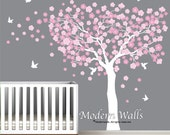 Cherry Blossom Tree with Birds-Nursery Wall Decals-Blowing Tree Decal-Humming Bird Wall Decals-Blowing Cherry Blossom Tree Decal