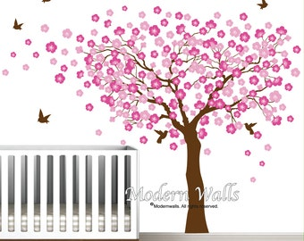 Cherry Blossom Tree Wall Decal-Tree With Birds-Blowing Tree Decal-Nursery Wall Sticker-e61