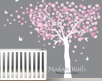 Cherry Blossom Tree with Birds-Nursery Wall Decals-Blowing Tree Decal-Humming Bird Wall Decals-Blowing Cherry Blossom Tree Decal-e79
