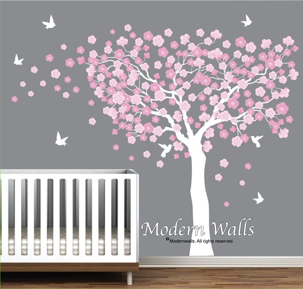 Cherry blossom tree with birds nursery wall decals blowing zoom amipublicfo Image collections