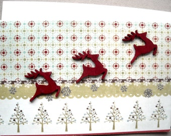 Christmas Card, Reindeer Card, Mixed Media Card, Seasonal Card, Blank Card, Scrapbook Card, Holiday Cards, Merry Christmas Card, Fun Card