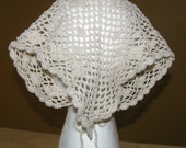 Hand Crocheted Lace Kerchief/Triangle Scarf/Head Scarf in Ivory Cotton Thread