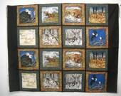 """16 Blocks Fabric Panel Wild Animals 8 1/2"""" Quilt Squares"""