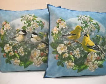 Set Of 2 Bird Pillow Slipcovers Yellow Finch Chickadee 14 x 14 Pillow Covers