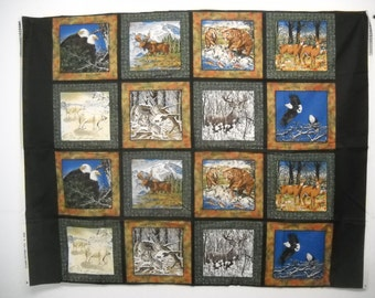 "16 Blocks Fabric Panel Wild Animals 8 1/2"" Quilt Squares"