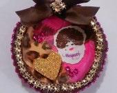 Brown and Hot Pink Elegant Magnet