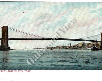 Brooklyn Bridge New York City Postcard, N.Y. State NYC, Undivided Back, Unused Antique Color Ephemera c1905, Free Shipping