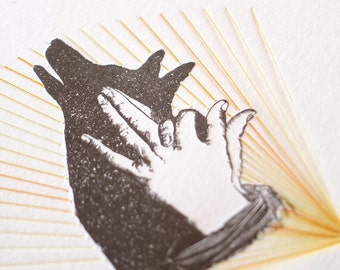 Letterpress hand shadow puppet print stitching, textile art, hand stitched, mixed media wall art, very limited edition DINGO