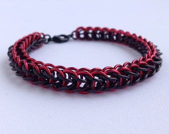 Mens Chainmail Bracelet, Full Persian Weave, Red and Black, Chainmaille Bracelet, Full Persian, Handmade Chainmail, Snake Bracelet, Canada
