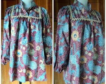 Vintage 70s Peasant Blouse Hippie Peacock Floral Burlap Trim 1970s Long Sleeve Elastic Cuff Big Bell Sleeves up to 38 bust