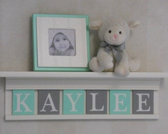 Personalized Baby Nursery Decor White or (Off White) Shelf with Letter Wooden Tiles Painted Mint and Gray