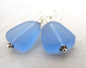 Sea Glass Earrings, Seaglass Earrings, Blue Seaglass, Beach Wedding, Something Blue, Seaglass Jewelry, Ocean Earrings, Beach Earrings