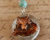 Fox Locket, Red Fox Locket, Fox Necklace, Fox Pendant, Fox Jewelry