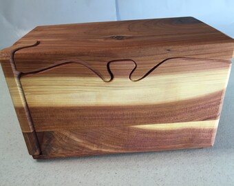 Handcrafted 6 Piece Red Cedar Puzzle Box with  inner mini box