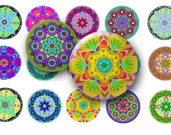 Mandalas digital collage sheet-Mandalas bottle cap images- Digital download-1 Inch Circles-25mm circles-Pendants-Magnets-Key chains