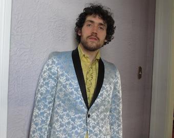 50's Vintage Men's Blue Brocade Formal Dinner Jacket 38 smoking jacket