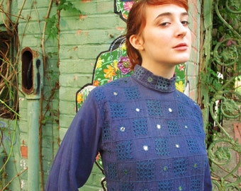 60's  Vintage Embroidered India Mod Hippie Dress med.
