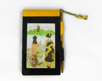 Vintage mid century Japanese ladies metal memo pad and pencil