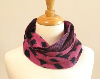 Merino Wool Cowl Scarf, Magenta and Navy