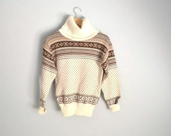 Vintage 80s Brown Ivory Fair Isle Nordic Winter Ski Wool Blend Turtleneck Sweater // womens xsmall small