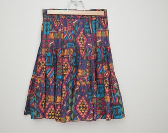 vintage 80s aztec southwestern cute mini kneelength skirt -- medium