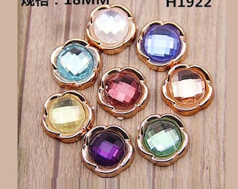 10pcs diy plastic flower with faceted glass cabochon 18mm flatback mix colors
