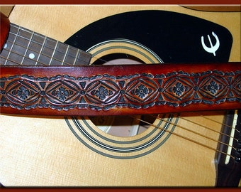 NATIVE SUN CIRCLE Design • A Beautifully Hand Tooled, Hand Crafted Leather Guitar Strap