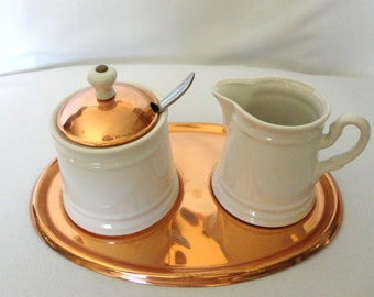 Copper and Ceramic Cream and Sugar  Set