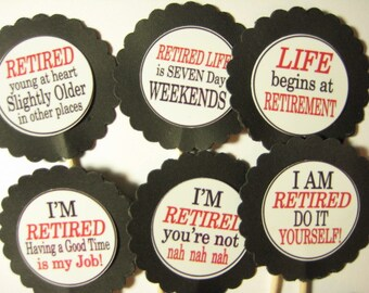 15 Retirement Party Picks - Cupcake Toppers - Toothpicks - Food Picks - FP622