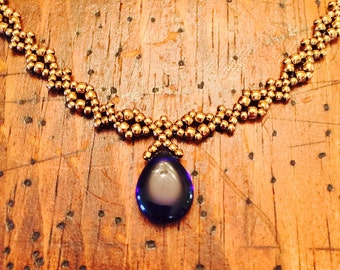 Bronze and blue pendant necklace, blue necklace, cobalt pendant necklace, blue jewelry