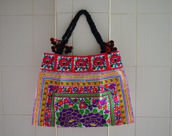 Hilltribe Embroidered Large Tote Bag Thai Hmong bag Bohemian shoulder bag ethnic handbags with Pom Pom
