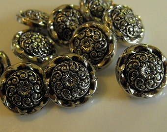 """10 Silver Inside Flower Round Shank Buttons Size 9/16""""."""