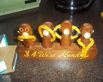 3 (no 4) Wise Monkeys Bar Set in original box - bottle opener, can opener, cork and corkscrew - very whimsical set!