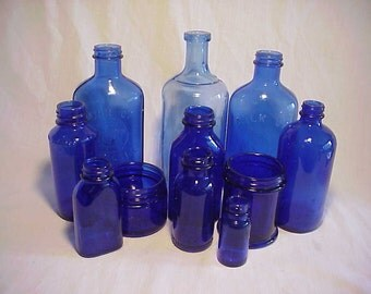c1890s -1950s Group of 11 Embossed and unembossed Cobalt Blue Glass Medicine Bottles, Great Wedding Decor