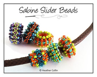 Beading Pattern, Intermediate Tutorial,  Embellished Right Angle Weave, RAW Slider Beads, Beading Instructions SABINE SLIDERS