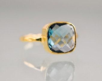 SALE - London Blue Topaz Stacking Ring - Bezel Ring -  Gemstone Ring- Gold Ring - December Birthstone