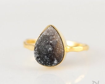 40 OFF - Black Druzy Ring - Grey Druzy Ring - Gemstone Ring - Stacking Ring - Gold Ring - Tear Drop Ring - Stackable Ring