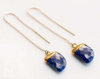 Gemstone Horn Threader Earrings - Blue Lapis Lazuli - Gold Ear Thread Earrings - Ear Threader Earrings - Minimal - Long Gold Dangle