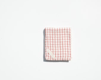 Linen Dish Towel in Large Red Check