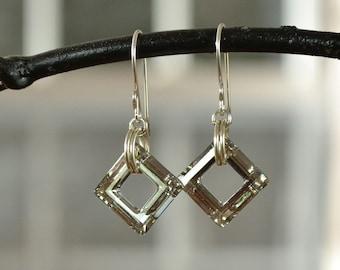 Crystal Earrings, Square Earrings, Sparkling Earrings, New Years Eve Earring