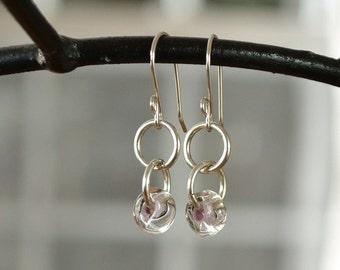 Linked Circle Earrings, Mauve Silver Earrings, Soft Lavender Earrings, Glass Bead Earrings