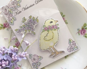 Two Magnets, Chick, Flowers, Baby Roses, Original illustrations, Art, Pen and Ink, Watercolors, Cottage Chic, Garden, Nature, Romantic