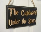 Engraved Door Hanger Sign CNC Carved - Harry Potter Inspired -The Cupboard Under the Stairs - Patronus Muggle Privet Drive Entryway Entrance