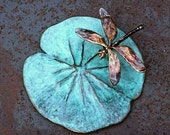 Spring Sale 10% Dragonfly on Lily Pad Scuplture