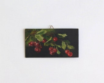 Vintage old mini small painting of cherries