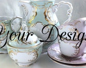 Mismatched Pastel Personalized Custom Tea Set, Pink, Blue, Green, and Gold Customized Tea, Teacups, Sugar, Creamer, Goth High