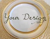 Customizable Plates, Gold Dinnerware, Customizable Dishes, Personalized Plates, Personalized Dishes, Bespoke Plates Wedding
